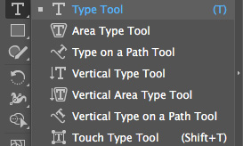 Инструменты, чтобы создавать текст в Иллюстратор